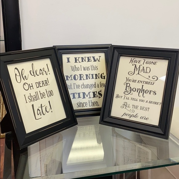 Set of Alice in wonderland quotes framed pictures